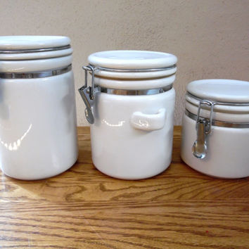 White Ceramic Canister Storage Containers 3 pc set