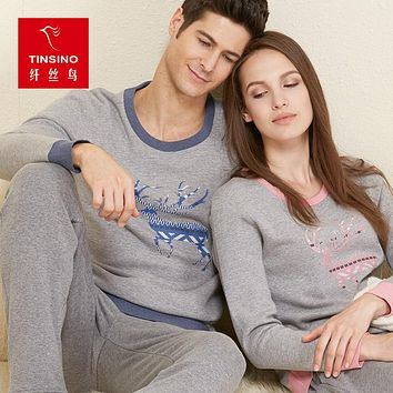 Fashion Cute Deer Printing Lover Leisure Wear Soft Warm Pants Women Men Cotton Thermal Underwear Couple O-Neck Long Johns Set