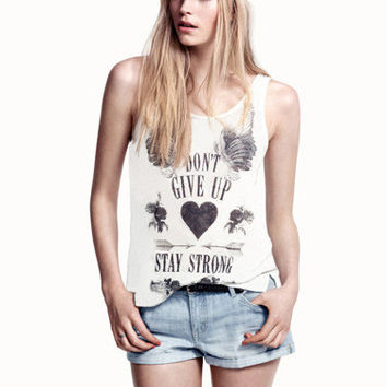 White Hand-Painted Wings Print Sleeveless Graphic Tank Top