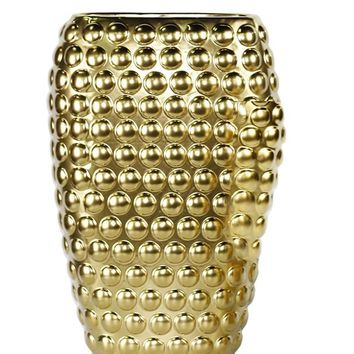 Beautifully Designed Decorative Ceramic Vase With Dots, Gold -Sagebrook Home