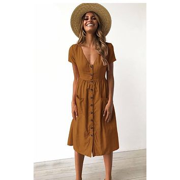 Summer Short Sleeve Swing Beach Dress