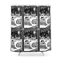 Society6 Snowy Christmas Shower Curtain