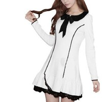 Amazon.com: Allegra K Ladies Doll Collar Long Sleeve Self Tie Bow Front Decor Stretch Dress White S: Clothing