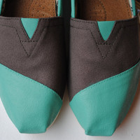Custom Hand Painted TOMS in Ash Gray and Teal