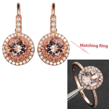 14K Rose Gold 6mm Round Morganite Earrings Diamond Halo Tanzanite/Aquamarine/Peridot/Tourmaline/Moissanite/Citrine/Topaz/Garnet...Available