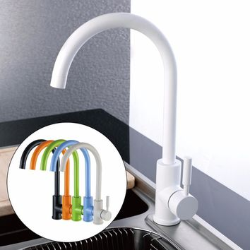 Kitchen Sink Faucet Antique Black White Green Orange Blue Beige Colorful  Desk Mounted Copper Bathroom Basin Water Mixer Taps