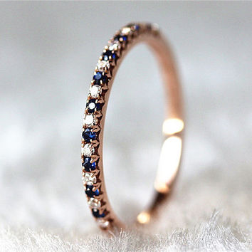 New Band Design 14K Rose White Gold Blue Sapphire & Diamond Ring Promise Band Bridal Band Diamond Band Anniversary Ring