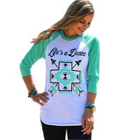 'Life's a Dance' Baseball Style Tee in Mint