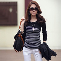 032,2014 New Spring Fashion Women's cloths Blouses long sleeve striped tops stripes t shirts Tees plus size for womens loose T-shirt = 1930477508