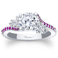 "Barkev's Pink Sapphire ""Flare"" Prong Set Diamond Engagement Ring"