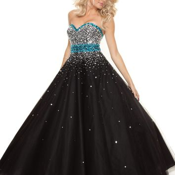 Paparazzi by Mori Lee 93019 Black Turquoise Ball Gown