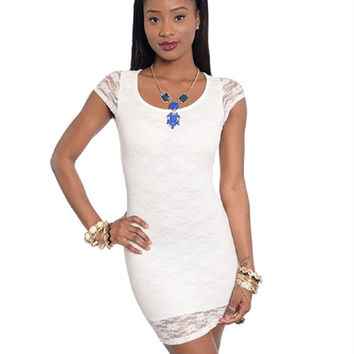 Junior's Ivory Lace Bodycon Dress with Peek a Boo Back Sizes S,L