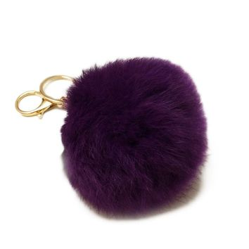 Cute Genuine rex Rabbit fur ball keychain Car key ring Bag Pendant fur pom fluffy key chains 9 colors