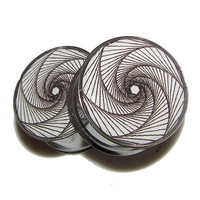 """Bullet-hole Spiral Plugs - 1 Pair - Sizes 2g, 0g, 00g, 7/16"""", 1/2"""", 9/16"""", 5/8"""", 3/4"""", 7/8"""" & 1"""""""