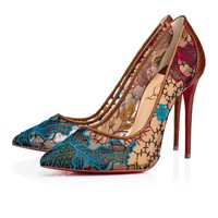 NIB Christian Louboutin Follies Lace 100 Butterfly Nude Brown Mesh Pump Heel 35