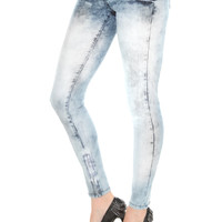 LOVEsick Blue Acid Wash Super Skinny Jeggings | Hot Topic