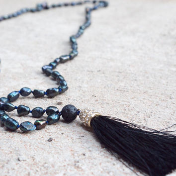 Black pearl beaded extra long necklace Bohemian dark grey mala necklace Sparkly boho tassel necklace Japa mala beads Hippie luxe jewellery