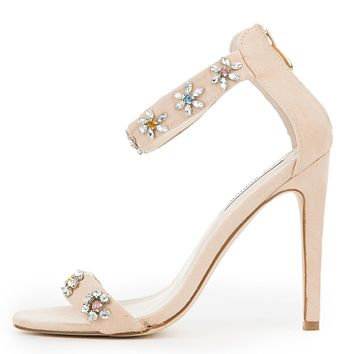 """Cape Suzzy 52 Nude Jeweled Flower Detailed 4.5"""" High Heel Sandal Shoe"""