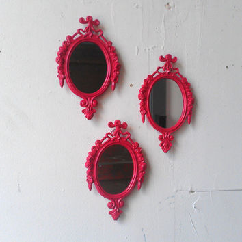 Oval Wall Mirror Set of Three in Small Raspberry Pink Vintage Frames