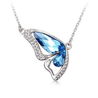 Dancing Butterfly Blue Necklace with Swarovski Elements