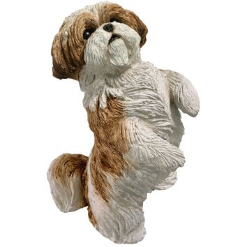 "Sandicast ""Small Size"" Sitting Pretty Gold & White Shih Tzu Dog Sculpture"