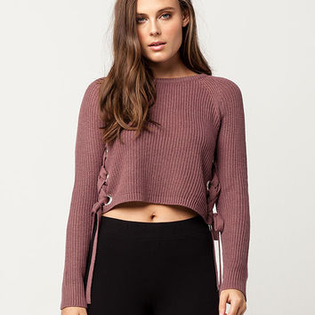WHITE FAWN Grommet Lace Up Womens Sweater | Pullovers