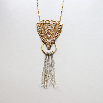 gold lace necklace // CHRYSOS // gold fringe/ tassel necklace / long lace necklace / bohemian / geometric / triangle / unique