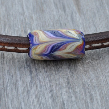Pastel Zebra Large Hole Lampwork Glass Tube Bead -  Fits Thick Oval Regaliz Leather