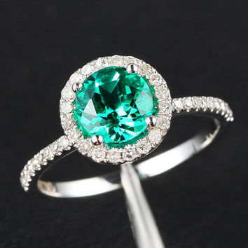 6.5mm Emerald Halo SI Diamond 14K White Gold by ThisIsLOGR on Etsy