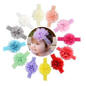 12 PCS/Lot Chiffon Flower Lace Headbands Hair Bands for Baby Girl Toddlers Infants Kids Children DIY Accessories