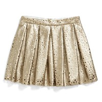 Girl's Alivia Simone 'Siera' Faux Leather Lace Skirt,
