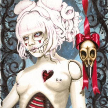 Sugar skull zombie dolly, Reliquary 6x9 stretched canvas print