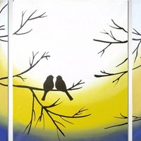 """ARTFINDER: original love bird abstract landscape """"Forever Together"""" painting art canvas - 48 x 20 inches romance 3 other sizes available by Stuart Wright - A good sized original abstract canvas painting ..."""