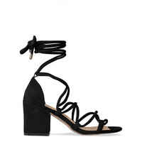 Kyra Black Suede Lace Up Mid Block Heels : Simmi Shoes