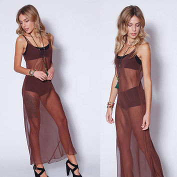 Vintage 90s Mocha SLIP Dress Sheer Maxi Dress 1990s Boho Dress