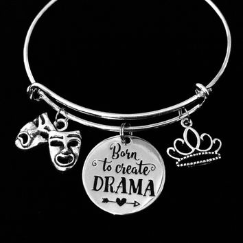 Born to Create Drama Expandable Charm Bracelet Comedy Tragedy Mask Silver Adjustable Bangle Drama Club Gift Theater Crown