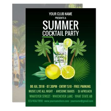 Club/Corporate Summer Cocktails Party Invitation