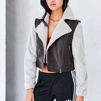 BDG Cozy Combination Moto Jacket - Urban Outfitters