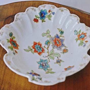 Prov Saxe E.S Germany Bowl, Hand Painted Floral Bowl, Vintage Shell Shape Bowl