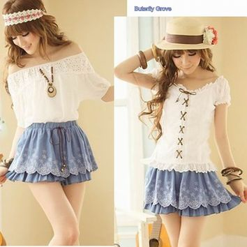 New Korean Fashion Cute Sexy Blue Embroidery Mini Skirt