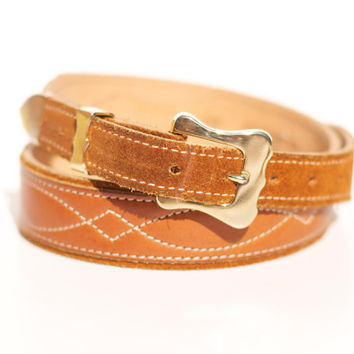 Vintage Southwestern Aztec Gold and Cognac//Brown Suede Leather Belt Size Small