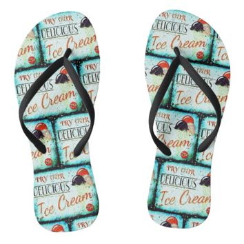 Vintage ice cream sign flipflops