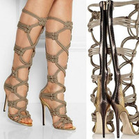 Hot Selling Women Gladiator Knee High Boots Sexy Zipper Peep Toe Ultra High Heels Botas Mujer Cross Strap Hollow Out Women Shoes