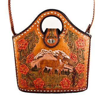 Vintage Purse Bag Hand Tooled Leather by goodmerchants on Etsy