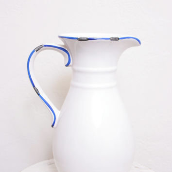 Vintage White Ceramic Pitcher Or Water Jug with Blue Outlining, Great Lemonade Pitcher or Provincial Vase