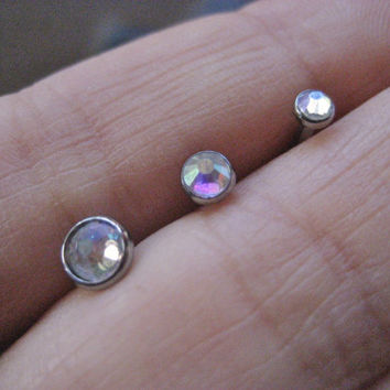 Choose Your Size Aurora Borealis Opal Triple Helix Cartilage Cuff Barbell Piercing Bar Ear Jewelry Earring