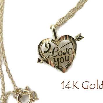 "14K Gold Heart Pendant Necklace, Vintage ""I Love You"" Heart Pendant, 18"" Chain Necklace"