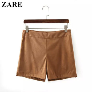 Autumn Women's Fashion High Rise Suede Zippers Pants Shorts [6034551681]
