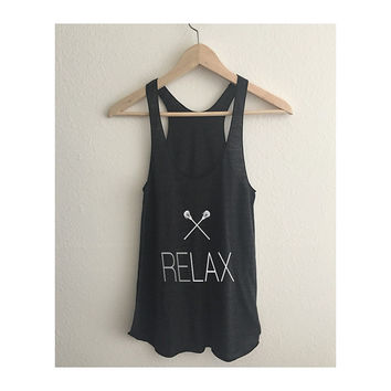 Relax Lacrosse LAX Tri Blend Athletic Racerback Tank Top