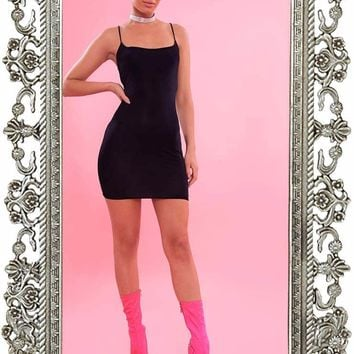 Black Slinky Spaghetti Strap Bodycon Dress